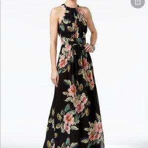 INC Halter Top Black/Floral Maxi Size 12